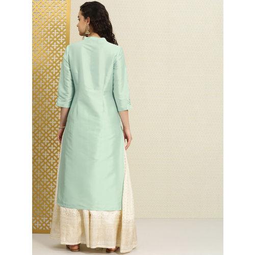 House of Pataudi Women Green Woven Design Straight Kurta