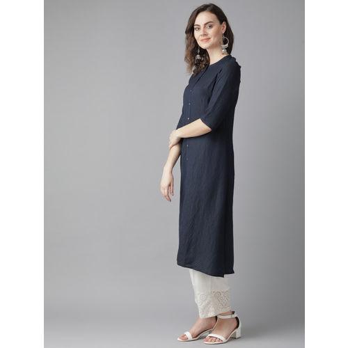 W Women Navy Blue Woven Design Straight Kurta