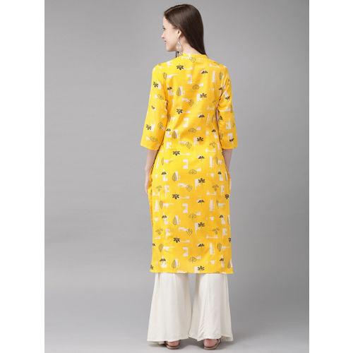 Anouk Women Yellow & Black Printed Straight Kurta