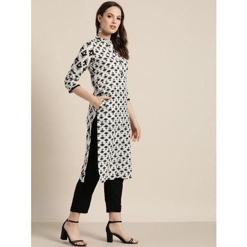 Sangria Women White & Black Printed Straight Kurta