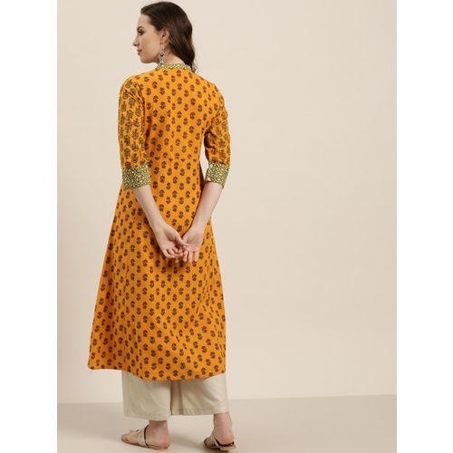 Sangria Women Mustard Yellow & Green Printed Anarkali Kurta