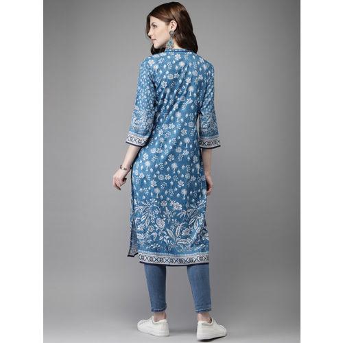 Anouk Women Blue & White Floral Print Straight Kurta