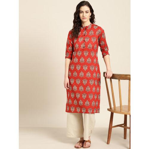 Sangria Women Red & Off-White Printed Straight Kurta
