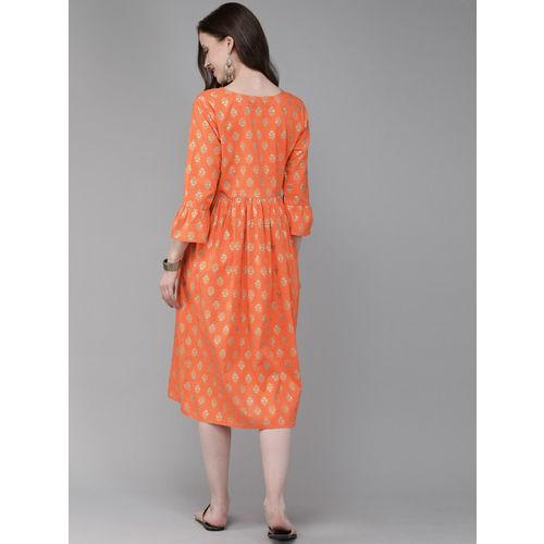 Anouk Women Orange & Gold-Toned Printed A-Line Fusion Kurta