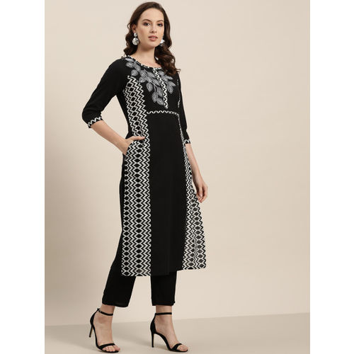 Sangria Women Black & White Printed Straight Kurta