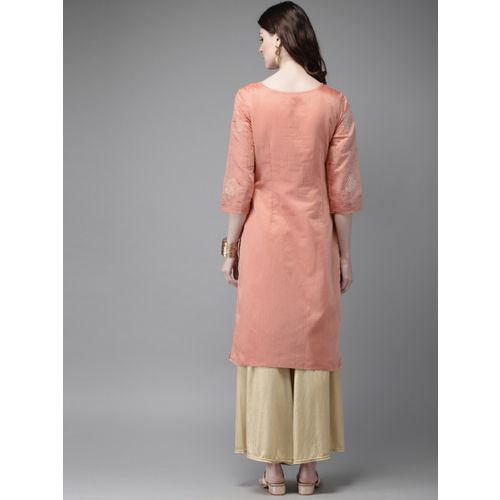 Anouk Women Pink Printed Straight Kurta
