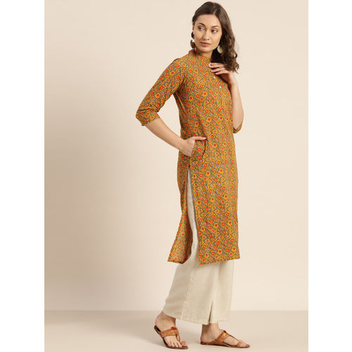 Sangria Women Mustard Yellow & Green Printed Straight Kurta