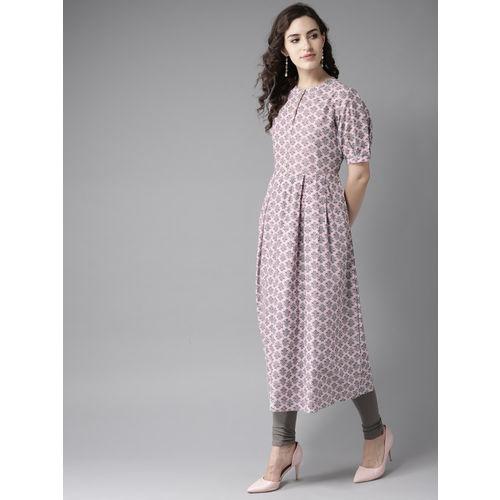 Moda Rapido Women Pink & Grey Printed A-Line Kurta