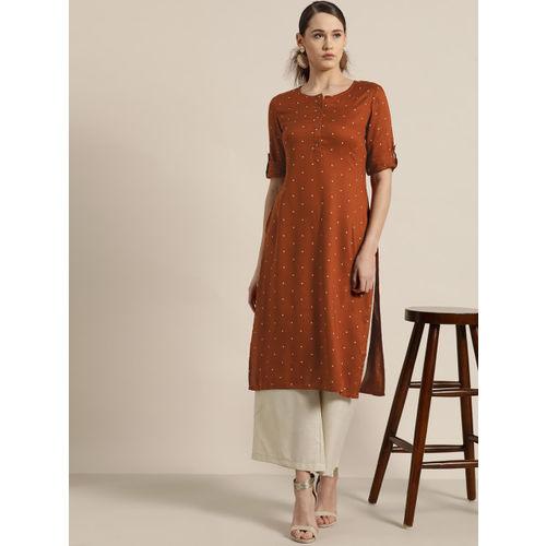 Moda Rapido Women Rust Brown & Off-White Printed Straight Kurta