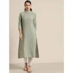 Moda Rapido Women Green & White Striped Straight Kurta