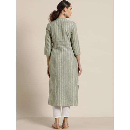 Moda Rapido Women Green & White Striped Straight Kurta