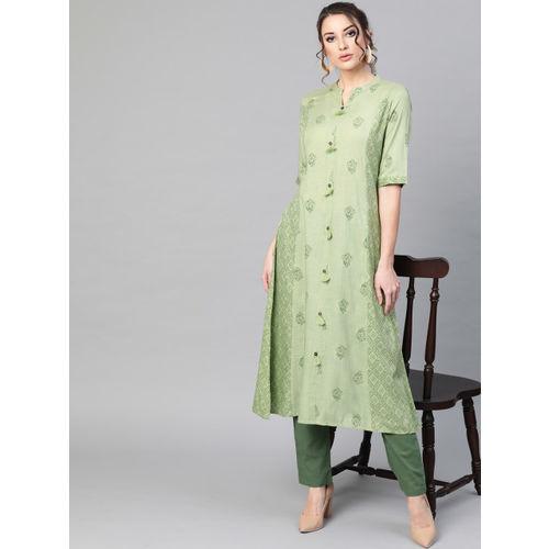 AKS Women Green Printed A-Line Kurta