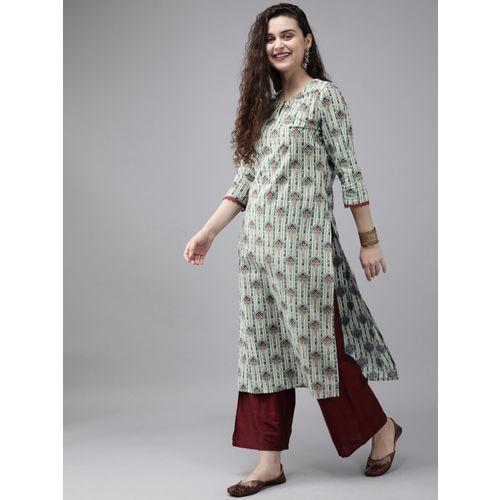 Anouk Women White & Green Printed Straight Kurta
