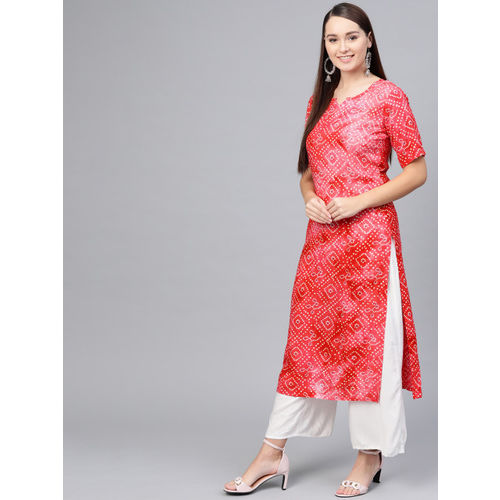AASI - HOUSE OF NAYO Women Red & Off-White Bandhani Print Straight Kurta