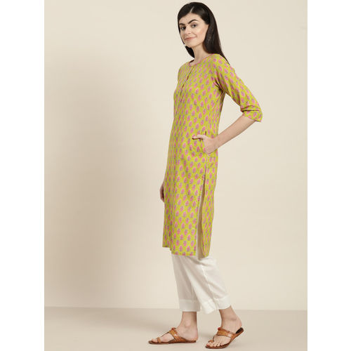 Sangria Women Green & Pink Printed Straight Kurta