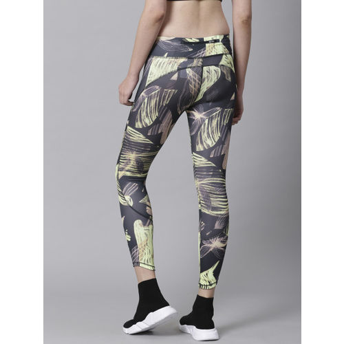 Nike Women Grey & Green AS Fast 7/8th Floral Print Tights