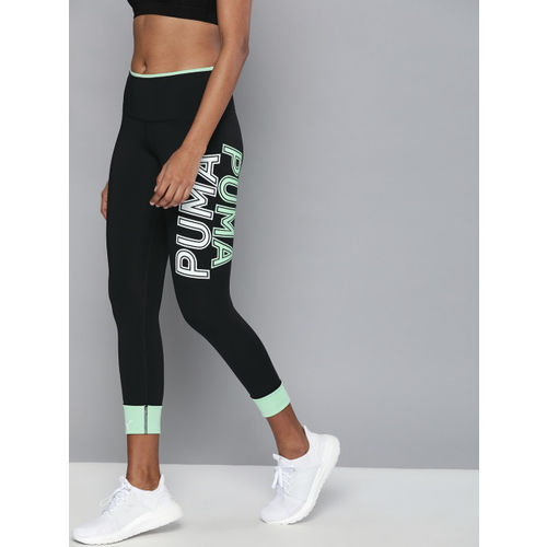 Puma Women Black Solid Tight Fit Modern Sports Tights With Printed Detail