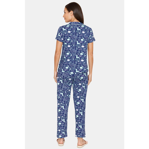 Zivame Fun & Frolic Butter-Soft Poly Knit Pyjama Set - Blue