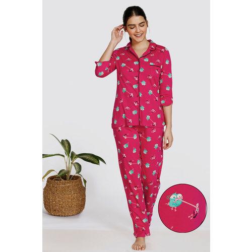 Zivame Bob & Berry Knit Cotton Pyjama Set - Maroon