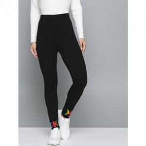 Kook N Keech Women Black High-Rise Printed Detail Ankle Length Leggings