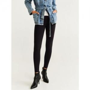 MANGO Women Black Solid Leggings