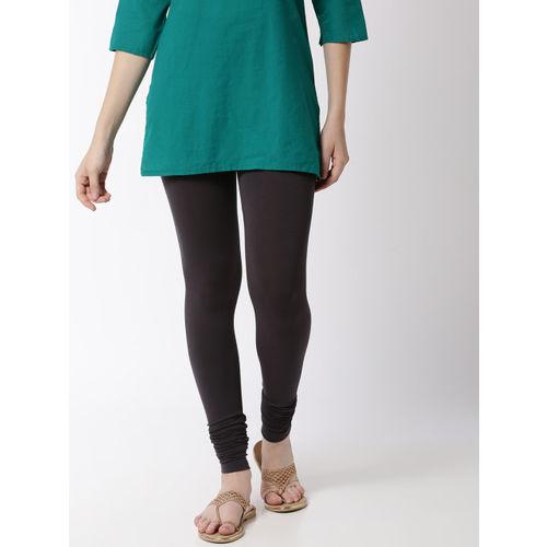 De Moza Women Grey Solid Churidar-Length Leggings