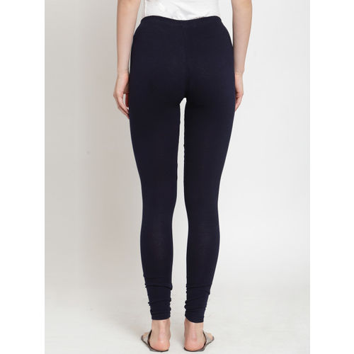 Everlush Women Navy Blue Solid Slim-Fit Churidar-Length Leggings