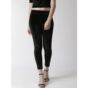 De Moza Women Black Solid High-Rise Cropped Leggings