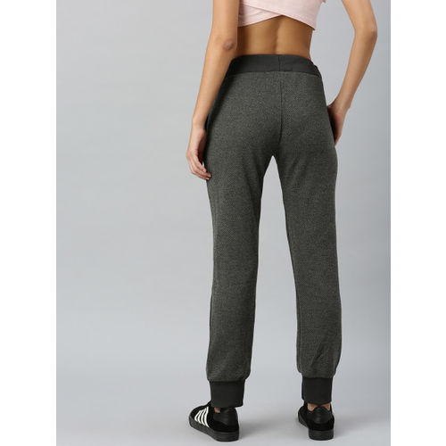 HERE&NOW Women Grey Self Design Straight Fit Joggers