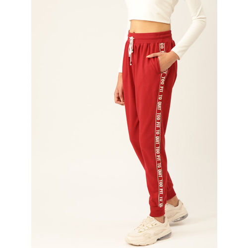 DressBerry Women Red Solid Joggers