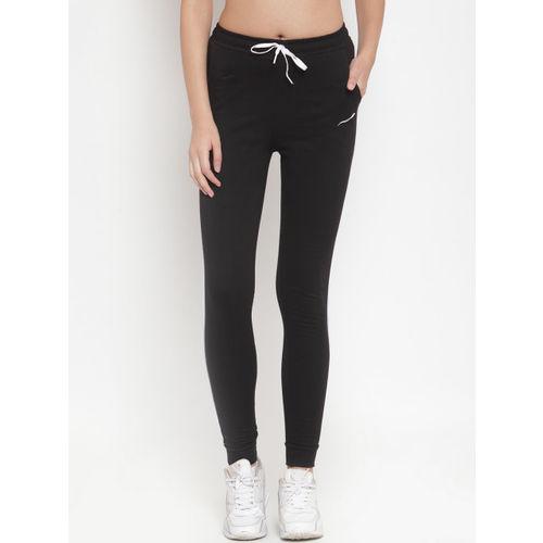 Boston Club Women Black Solid Slim-Fit Joggers