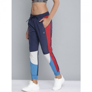 HRX by Hrithik Roshan Men Blue & Red Colourblocked Straight Fit Joggers