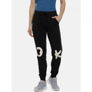 Campus Sutra Women Black & White Printed Track Pants