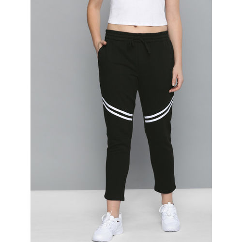 Harvard Women Black Straight Fit Solid Cropped Track Pants with Knee Stripe Patch