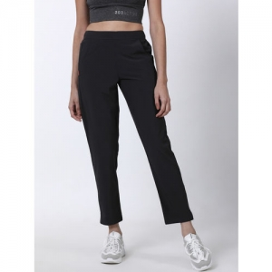 2GO Women Black Solid High-Rise Trackpants