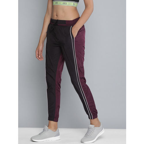 HRX by Hrithik Roshan Women Black & Burgundy Solid TAPERED Lifestyle Track Pants