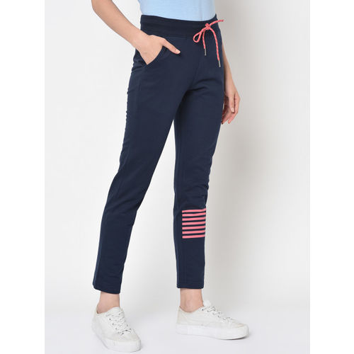 ARMISTO Women Navy Blue Solid Straight-Fit Fleece Track Pants