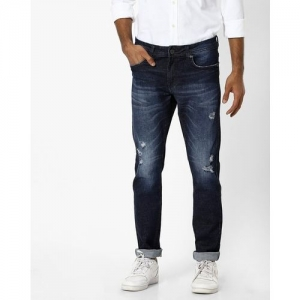 AMERICAN CREW Mid-Wash Distressed Slim Fit Jeans