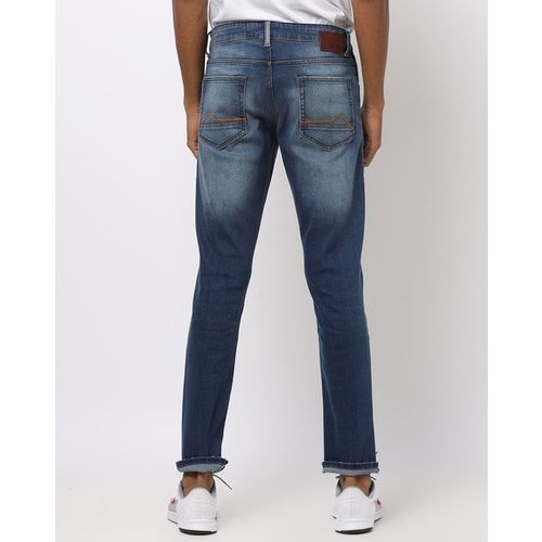 AJIO Washed Low-Rise Slim Fit Distressed Jeans