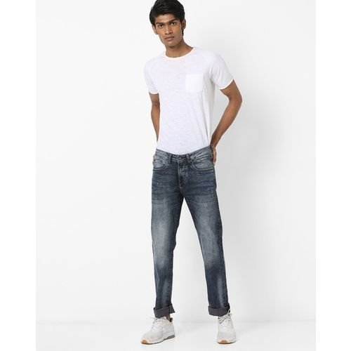 FLYING MACHINE Mid-Rise Tapered Fit Washed Jeans