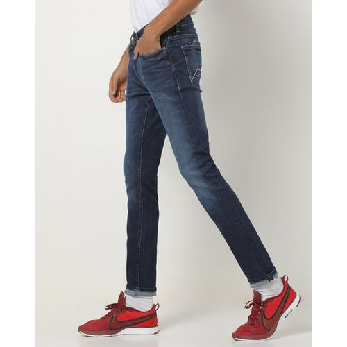 AJIO Washed Slim Tapered Jeans with Whiskers