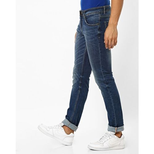 JOHN PLAYERS Washed Mid-Rise Jeans