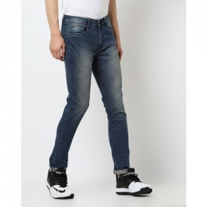 AJIO Lightly Washed Low-Rise Tapered Jeans