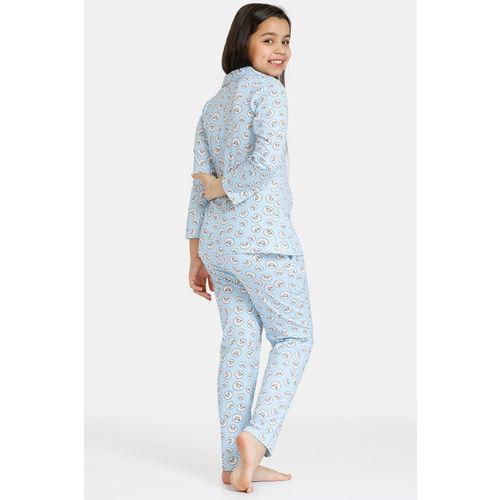 Zivame GRL Knit Cotton Pyjama Set - Blue