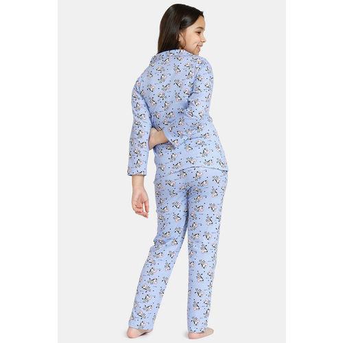 Zivame GRL Knit Cotton Pyjama Set - Lavender