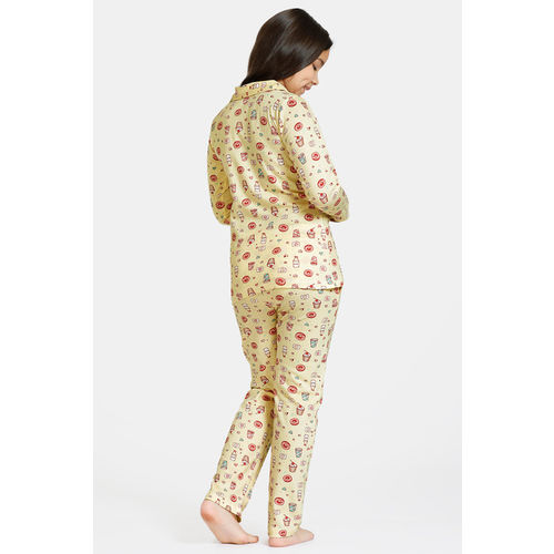 Zivame GRL Knit Cotton Pyjama Set - Yellow