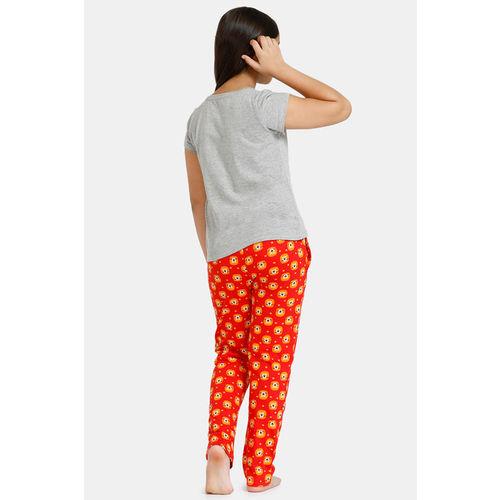 Zivame GRL Knit Cotton Pyjama Set - Red