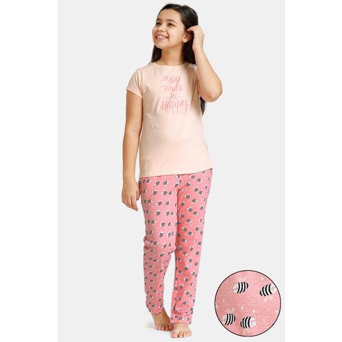 Zivame GRL Knit Cotton Pyjama Set - Pink