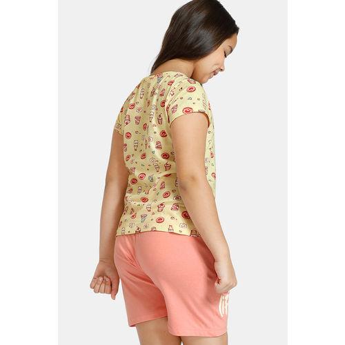 Zivame GRL Knit Cotton Shorts Set - Yellow