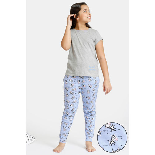 Zivame GRL Knit Cotton Pyjama Set - Lavender